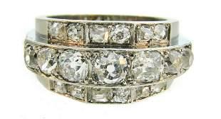 Art Deco 2.50 cts Diamond Platinum Band RING