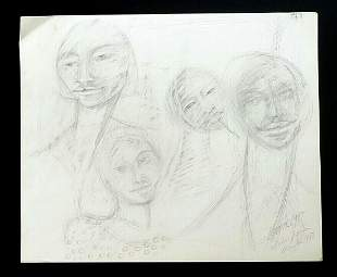 France Hawaii Outsider Art Drawing Family Claude Vedel