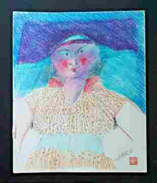 France HI Outsider Art Painting Woman Hat Claude Vedel