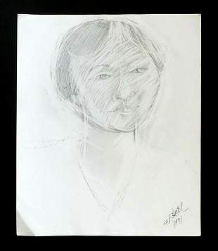 France Hawaii Outsider Art Drawing Female Claude Vedel