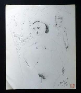90s France HI Outsider Art Drawing Nudes Claude Vedel