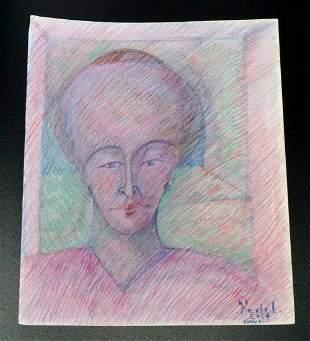 France HI Outsider Art Painting Portrait Claude Vedel