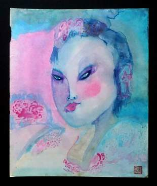 80s France HI Outsider Art Chinese Girl Claude Vedel