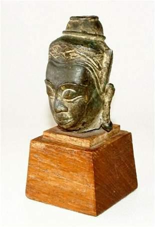 Antique SE Asian Mounted Bronze Buddha Head Fragment
