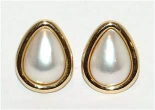 Vintage 14K YG Earrings Bezel w Pear Shaped Mabe Pearl