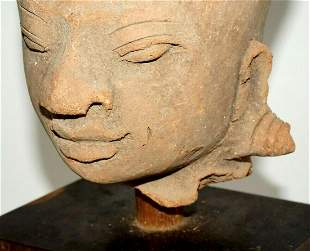 14C Indonesian Majapahit Pottery Clay Head Wood Stand
