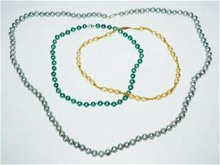 Multicolor Single Strand Pearl Necklaces Sterling Clasp