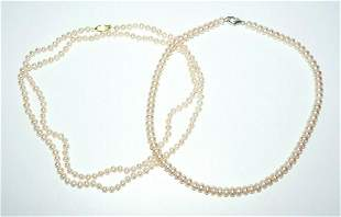 2Pc Single Strand Off White Cultured Pearl Necklace