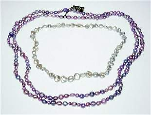 Two Sterling Silver Blue Grey & Purple Pearl Necklaces