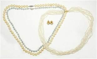 Vintage Sterling Silver & YG Pearl Necklaces & Earrings