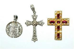 3 Vintage Silver Cross & Disk Pendants w Ruby, Diamonds