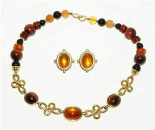 Vtg HK 925 Necklace & Earrings Amber & Gems Kai Yin Lo