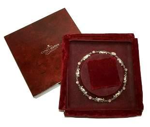 Vtg Danish Silver+Pink Moonstone Necklace Georg Jensen