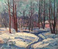 Oil painting Winter forest landscape
