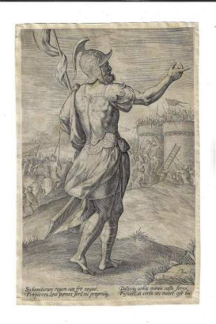 17th C Engraving of Armored Soldier Haeyser