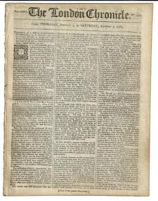 1769 The London Chronicle Arts in Africa Asia