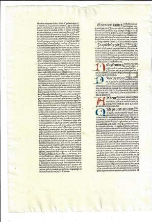15th C Incunable Law Leaf Handpainted Initials