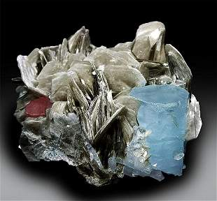 Aquamarine Crystal with Pink Apatite and Mica Mineral