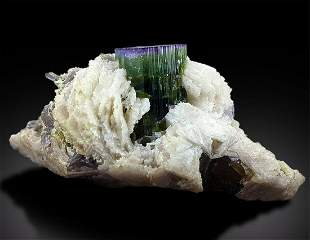 Tourmaline Crystals with Lepidolite Albite Mineral