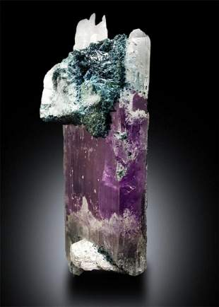 Bicolor Kunzite with Blue Tourmaline Crystals Mineral