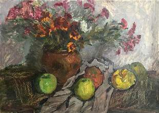 Oil painting Still life with flowers Petrashevsky