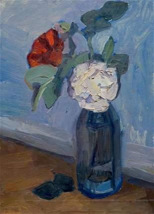 Oil painting Roses in a bottle Samokhin Vladimir