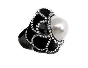Joan Boyce Crystal White Pearl Enamel Couture Designer