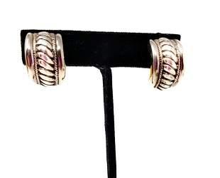 925 Solid Silver Ribbed Half Hoop Clip On Earrings