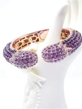 Joan Boyce Swarovski Purple Crystal Cuff Snap Bangle