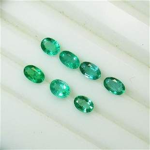 1.77 Ct Natural 7 Zambian Emerald Oval Necklace Set