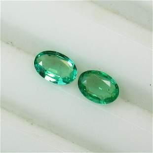 0.67 Ct Natural Zambian Emerald Oval Pair