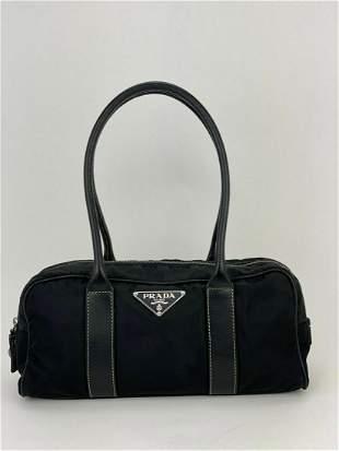 PRADA Black Nylon and Leather Shoulder Hand Bag