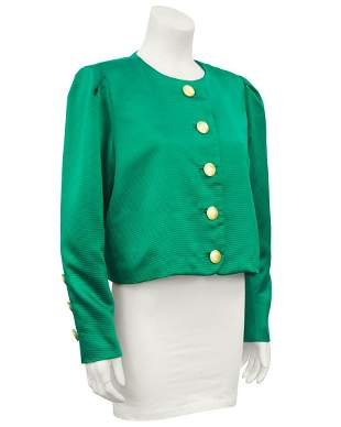 Yves Saint Laurent Green Silk Jacket