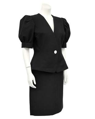 Yves Saint Laurent Black Cotton Skirt Suit