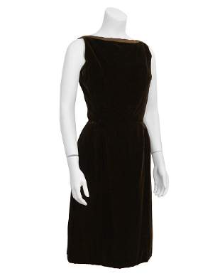 Christian Dior Brown velvet cocktail dress