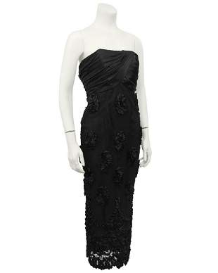 Anonymous Black Strapless Cocktail Dress with Lace and