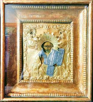 ANTIQUE FINELY PAINTED 19c 84 SILVER RUSSIAN ICON OF