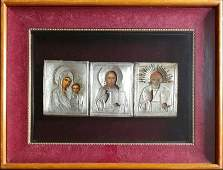 ANTIQUE 19c PAINTED(3) RUSSIANS 84 SILVER ICONS