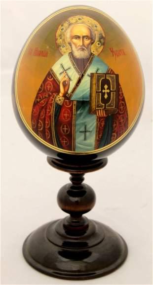 Wooden egg Saint Nicholas