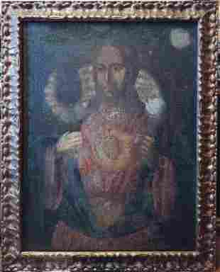 ANTIQUE 18c RUSSIAN SCHOOL OIL ON CANVAS PAINTING OF