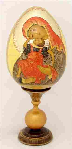 Wooden egg Our Lady Pelagonia (Eleusa)
