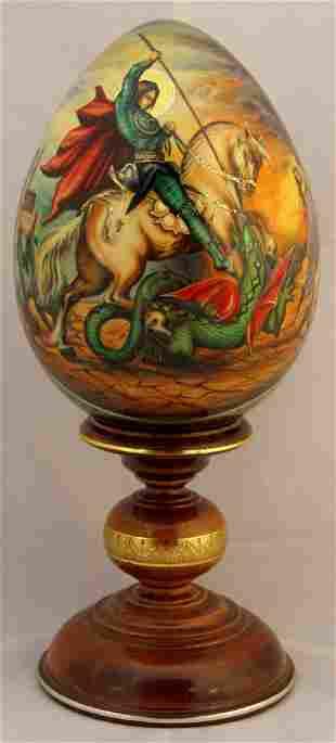 "Wooden egg ""Saint George Slaying the Dragon"""