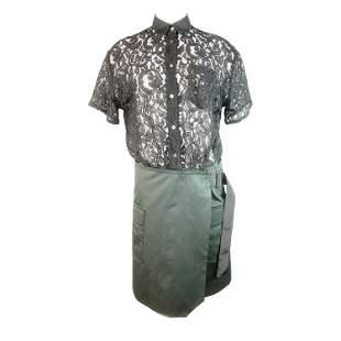 Sacai Luck Black Floral Lace Button- Down Shirt Wrap