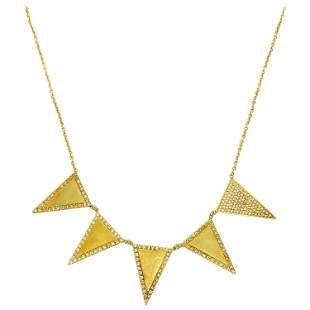 Jennifer Meyer 18K Yellow Gold and Diamond Triangle