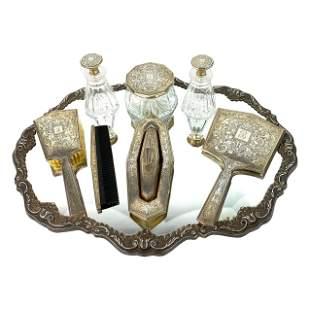 1920s Art Deco Sterling Silver Vanity Set