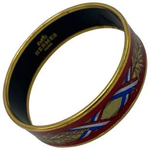 Vintage Hermes Enamel Wide Bangle Bracelet