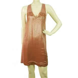 Auth Chloe Metallic Peach Silk V neck X back Mini Dress