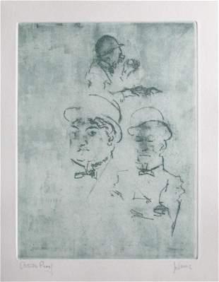 "Jack Levine signed original etching ""Thieves"""