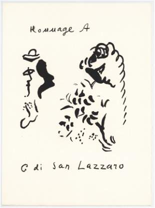 Marc Chagall original lithograph | Homage to San