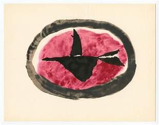 """Georges Braque 1959 pochoir """"Oiseau au couchant"""""""